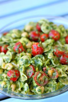Pasta salad with Avocado, cherry tomatoes, spinach & cilantro pesto with a lemony dressing.