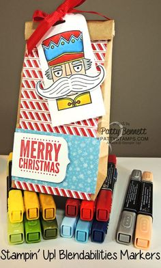 Blendabilties markers from Stampin' Up! are perfect to color the nutcracker from the Santa Stache stamp set for this Christmas gift bag and tag! by Patty Bennett www.pattyStamps.com