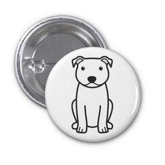 Staffordshire Bull Terrier Dog Cartoon Pins