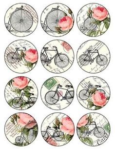 bikes and roses Vintage Printable Tags Digital Collage Sheet large circle images… Images Vintage, Vintage Tags, Vintage Labels, Vintage Prints, Vintage Retro, Vintage Roses, Decoupage Vintage, Decoupage Paper, Printable Images