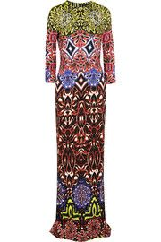 Just Cavalli Printed stretch-crepe maxi dress