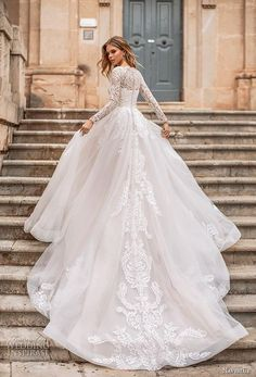 naviblue 2019 bridal long sleeves illusion bateau straight across neckline heavily embellished bodice romantic a line wedding dress covered lace back royal train 10 bv - Naviblue 2019 Wedding Dresses Wedding Inspirasi Lace Ball Gowns, Ball Dresses, Dresses With Sleeves, Long Sleeve Bridal Dresses, Wedding Gowns With Sleeves, Dresses 2016, Dresses Dresses, Lace Sleeves, Long Dresses