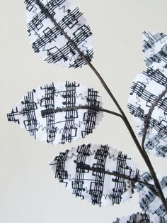 Fabric Leaves Black and White Sheet Music Notes by janejoss