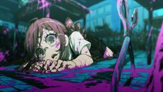 I've never really thought about how horrifying that first murder must've been for little Toko. Like, you black out, and wake up with blood all around, and a dead body at your feet. Danganronpa Funny, Super Danganronpa, Danganronpa Characters, Danganronpa Executions, Character Art, Character Design, Danganronpa Trigger Happy Havoc, Familia Anime, Fanarts Anime