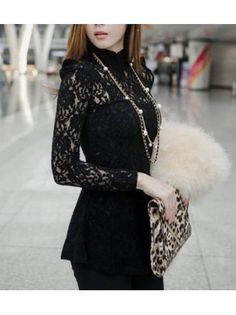 Mandarin Collar Long Sleeve Pierced Lace Shirt
