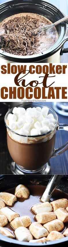 Slow Cooker Hot Chocolate ~ using a crock pot is the easiest way to make a big batch of rich, decadent hot cocoa for a crowd, and four flavor variations make it extra yummy: regular, salted caramel, peppermint, and Mexican hot chocolate! | FiveHeartHome.com Crock Pot Hot Chocolate Recipe, Hot Chocolate Recipes, Appetizers For A Crowd, Food For A Crowd, Party Appetizers, Slow Cooking, Best Dessert Recipes, Fun Desserts, Drink Recipes