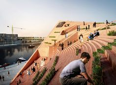 spanish/swedish architecture firm NOMOstudio reveals its competition entry for the sydhavnen church in copenhagen, denmark.