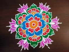Sankranthi Muggulu With Colors * Sankranthi Rangoli Designs 2019 * Pongal Kolam Designs - YouTube Easy Rangoli Designs Videos, Rangoli Side Designs, Rangoli Designs Simple Diwali, Simple Flower Rangoli, Beautiful Rangoli Designs, Simple Flower Design, Rangoli Designs Latest, Free Hand Rangoli Design, Small Rangoli Design