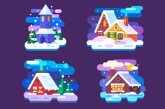 Snow Covered Winter Houses. by TastyVector on @creativemarket