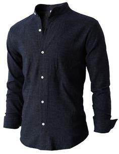 Mens Basic Mandarin Collar Flannel Shirt Comfortable Soft Cotton (KMTSTL052) #doublju