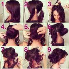 Lovely loose and romantic up-do. I don't know if I could do it though...might just have too much hair for this.