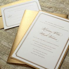 Modern gold and white wedding invitations #wedding #gold #goldwedding #invitations #weddinginvite