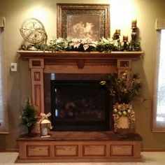 Pictures Of Fireplaces And Mantels | ... Pine Leaves Fireplace Mantel  Decoration And Light. Decorating ...  Decorating Fireplace Mantel