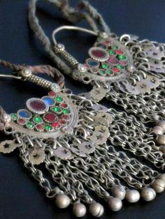 Big Vintage Afghani Mazar Tribal Jewelry Colorful Earrings