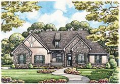 Eplans French Country House Plan - Stone-and-Stucco Splendor - 2598 Square Feet and 3 Bedrooms from Eplans - House Plan Code HWEPL12496