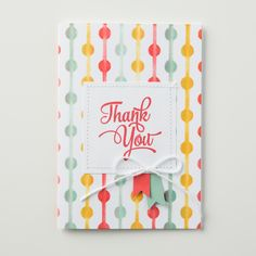 We love this card created with One Big Meaning.  The Thank You is the focus layered over a background created using the new Happy Patterns decorative masks.