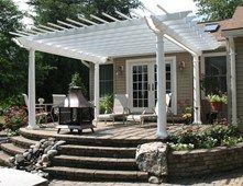 White Pergola, Raised Pergola Pergola and Patio Cover Continental Landscaping Severn, MD