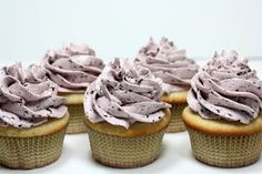 Lemon Filled Vanilla Cupcakes with Blueberry Swiss Meringue Buttercream Frosting