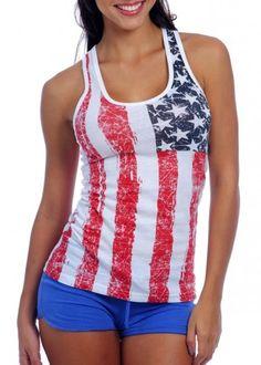 Ladies American Flag Tank Top-Distressed Style