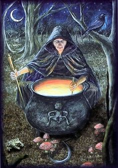 """Badb's cauldron is symbolic of the womb and is connected to rebirth.  As a goddess of death, Badb facilitates the rebirth of souls who pass into the Otherworlds.  She can appear as a Hag or Maiden, signifying her close connection between each aspect.  Badb is both the Maiden and the Crone.  She speaks to us of death and destruction yet also guides us toward healing and rebirth. (Stephanie Woodfield, """"Celtic Lore and Spellcraft of the Dark Goddess"""", 68, pp.68-72)."""