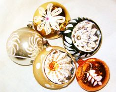 Vintage Glass Indent And Fancy Christmas Tree Ornaments Germany Poland Japan Antique Decorations Gold Silver Copper And Green