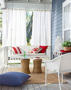 Red, white, and blue porch. Soft.