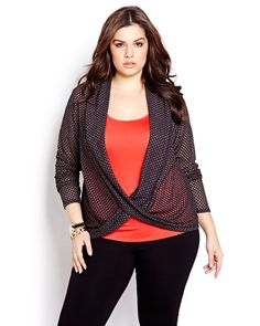 """Add some mesh appeal to your look with this trend-inspired cardigan. Wear it over eye-popping color for a fun layered look, or go tone-on-tone for a subtle play on texture. Plus size, crossover front, long sleeves, length: 27""""."""