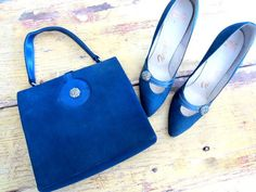 1950s Matching Blue Suede Stiletto Pumps and Purse with Rhinestone Detail $52.00