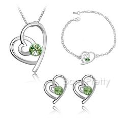 $4.54 Sweet Heart Earring & Necklace & Bracelet Bright Crystal Decor - BornPrettyStore.com