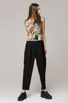 Trousers in crop with contrast waist - FrontRowShop