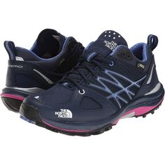 The North Face Ultra Fastpack GTX Women's Hiking Boots, Navy ($133) ❤ liked on Polyvore featuring shoes, athletic shoes, navy, waterproof shoes, gore tex shoes, lace up hiking boots, hiking boots ve light weight hiking boots