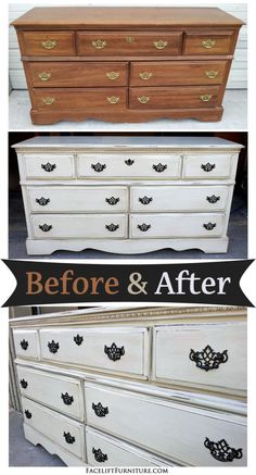 Off White Bedroom Furniture F White Dresser with Espresso Glaze – before & after Distressed Bedroom Furniture, Bedroom Furniture Makeover, Repurposed Furniture, Shabby Chic Furniture, Painted Furniture, Home Furniture, Kitchen Furniture, Furniture Ideas, White Distressed Dresser
