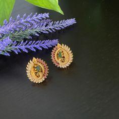 Antique AD /CZ gold finished kemp peacock stud Earrings / Statement earrings / peacock Stud Earrings / kemp stud earrings