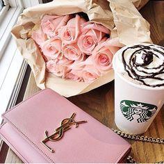 """Morning coffee, roses an da Saint Laurent bag✨"""