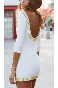 """VERA: Ivory body-con dress featuring a gold bar trim and plunging scoop back. Deep scoop neckline, crop sleeves. Unlined. Youll be sure to turn heads! Cotton/Polyester Blend. 30"""" in length. $49.99"""