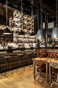 Pub Food, Tapas Bar, Black Ceiling, Wood Fired Pizza, Restaurant Interior Design, Game Room, Table, Home Decor, Restaurants