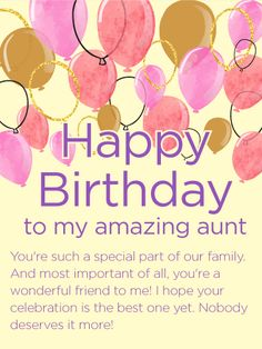 To my special aunt happy birthday wishes card happy birthday to my amazing aunt happy birthday wishes card this delightful card is a wonderful m4hsunfo Gallery