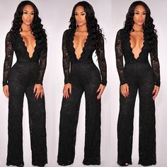 a9306de9832 2017 2016 Lace Jumpsuits For Women Sexy V Neck Long Sleeves Hollow Out  Transparent Nightclub Black Jumpsuits Wholesale 1969 From Notwo