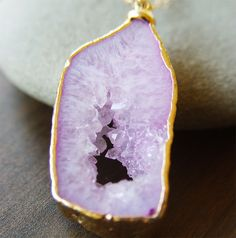 lavender agate crystal necklace