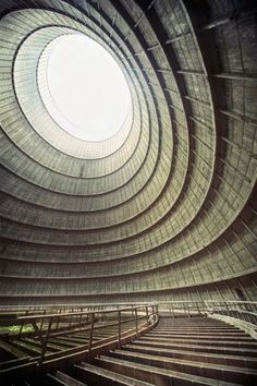 circular  Richard Gubbels, photos inside the cooling tower of an abandoned power plant