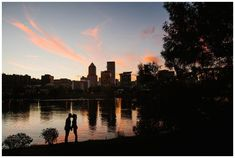 Portland engagement photos on the Eastbank Esplanade at sunset by Katy Weaver Photography