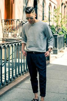 Men's Grey Crew-neck Sweater, Navy Chinos, Black Leather Sandals, Black Leather Belt