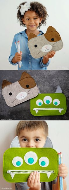 Get back-to-school ready with our template and tutorial to make zippered DIY pencil pouches! Our designs include a cute kitty and three-eyed green monster Sewing Projects For Kids, Sewing For Kids, Diy For Kids, Pencil Bags, Pencil Pouch, Felt Diy, Felt Crafts, Diy Pencil Case, Diy Couture