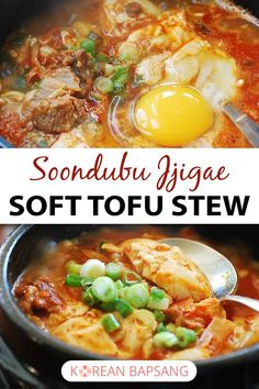This warming and comforting jjigae (Korean stew) is made with extra soft tofu (soondubu), thinly sliced meat, kimchi and anchovy broth. It really takes less than 30 minutes to prepare this flavor packed Korean tofu stew! Vegetarian Recipes, Cooking Recipes, Healthy Recipes, Cooking Tips, Soondubu Jjigae, Korean Side Dishes, Asian Cooking, Asian Recipes, Korean Recipes