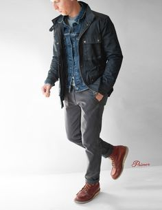 Waxed cotton canvas creates a water-resistant and lightweight layer with a history dating back to the Today, waxed jackets add a functional and rugged style to your wardrobe. Waxed Canvas Jacket, Waxed Cotton Jacket, Denim Jacket Men, Denim Jackets, Rugged Style, Sailing Outfit, Field Jacket, Jacket Style, Fall Outfits