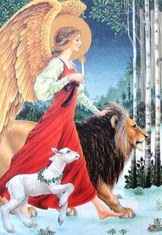 Angel, lamb, & lion Christmas card, 1980