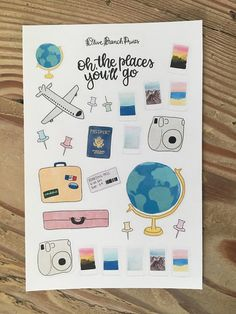 Travel Themed Bullet Journal / Planner Stickers Bullet Journal Planner, Bullet Journal Notes, Bullet Journal Ideas Pages, Bullet Journal Inspiration, Planner Stickers, All The Bright Places, Cute Scrapbooks, Note Doodles, Travel Themes