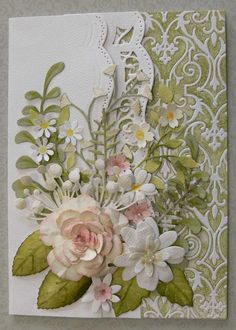 Spellbinders A2 Bracket Borders, Rose Creations, Anna Griffin embossing folder-Foundry, Sissix Susans's Garden-Dahlia, Memory Box-Flutter Vine, Chloe, Delicate Fern, Cheery Lynn Pair of Ferns & Punched flowers