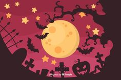 Halloween concept with flat design background Vector | Free Download Halloween Invitations, Vector Free Download, Backgrounds Free, Flat Design, Adobe Illustrator, Concept, Illustration, Art, Art Background