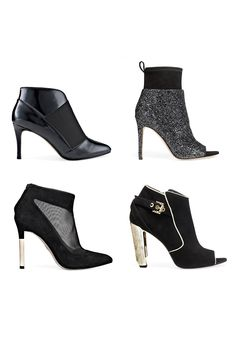 Think of them as an evening shoe: choose heeled ankle booties with special details like sparkles or metallic accents. You can go bare legged, or wear sheer hose or shiny opaque tights for a more festive look; styles that dip slightly in front are extra flattering.